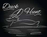 Vector Illustration with duck in the hunter hat Royalty Free Stock Photos