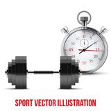 Vector Illustration of dumbbell and stopwatch. Background of training and timing Royalty Free Stock Image