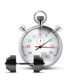 Vector Illustration of dumbbell and stopwatch. Royalty Free Stock Images