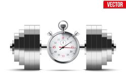 Vector Illustration of dumbbell and stopwatch Royalty Free Stock Photography
