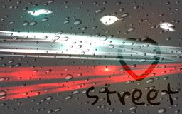 City road car light trails motion background. Rain, the inscription on the misted glass. Vector illustration of dynamic lights. High speed road in night time Royalty Free Stock Images