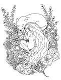 Vector illustration e girl and the wolf sleeping in the flowers. Doodle drawing. Meditative exercises. Coloring book. Anti stress for adults. Black and white Royalty Free Stock Image