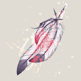 Vector illustration of eagle feathers with watercolor splash Royalty Free Stock Photos