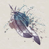 Vector illustration of eagle feathers with watercolor splash Stock Image