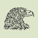 Vector illustration of an eagle head made of patterned elements Royalty Free Stock Photos