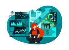 Vector illustration of early investment literacy, future financial education, bank interest, mobile banking. young girl studying a royalty free illustration