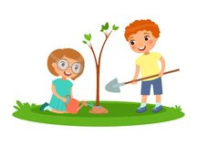 Boy and girl for planting and watering trees. Vector illustration for Earth Day or Arbor Day royalty free illustration