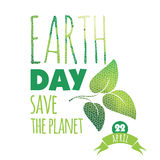 Vector illustration of Earth Day. Design element Stock Photography