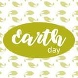 Earth day poster on green leafs background. Vector Illustration. Earth day poster on green leafs background royalty free illustration