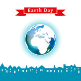 Vector illustration. Earth Day poster. Concept for celebrating of Earth Day. Houses silhouettes, town. Vector background with the globe with watercolor texture Stock Illustration