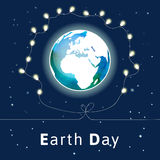 Vector illustration. Earth Day poster. Concept for celebrating of Earth Day with light bulbs. Vector background with the globe with watercolor texture and Royalty Free Illustration