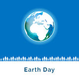 Vector illustration. Earth Day poster. Concept for celebrating of Earth Day. People care about the environment, loving world. Vector background with the globe Stock Photos