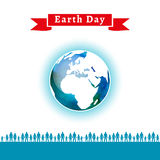 Vector illustration. Earth Day poster. Concept for celebrating of Earth Day. People care about the environment, loving world. Vector background with the globe Stock Images