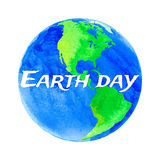 Vector illustration of Earth day. With watercolor texture on white background Royalty Free Stock Photos