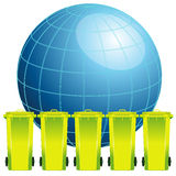 Earth globe with garbage bin,concept of environment pollution Royalty Free Stock Photo