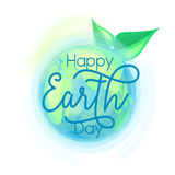 Vector illustration of earth globe and leaves, background for happy Earth day stock illustration
