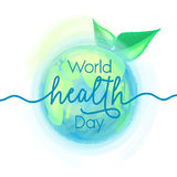 Vector illustration of earth globe and leaves, background for World health day Royalty Free Stock Images