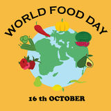 Vector illustration of Earth made of healthy food.  Royalty Free Stock Image