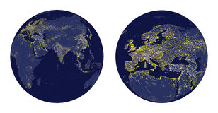 Vector illustration of Earth sphere with city lights and zoom of Europe. Illustration of Earth sphere with city lights and zoom of Europe Stock Photo