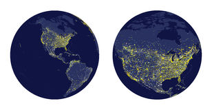 Vector illustration of Earth sphere with city lights and zoom of North America Royalty Free Stock Photo