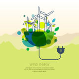 Vector illustration of earth with wind turbines, and wire plug. Wind alternative energy generator. Background design for save earth day. Environmental, ecology Royalty Free Stock Photography