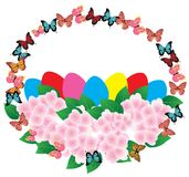Vector Easter Basket With Flowers royalty free illustration