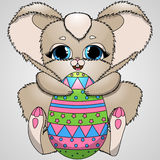 Vector illustration Easter bunny and colorful eggs Stock Photos