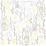 Vector  background with  Easter Bunny,eggs and flowers Royalty Free Stock Photography
