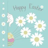Easter Card with `Happy Easter` phrase, cute easter Bunny, colorful egg and Camomile flowers on blue background. Vector Illustration. Easter Card with `Happy Royalty Free Stock Image
