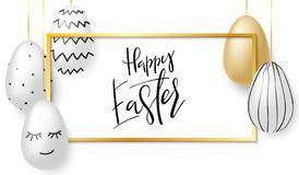 Vector illustration of easter day greetings banner template with hand lettering label - happy easter- with realistic stock illustration