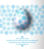 Vector illustration.Easter egg with blue pattern on a floral background. Design element, template. Wallpaper, flyers, invitation, brochure, greeting card vector illustration