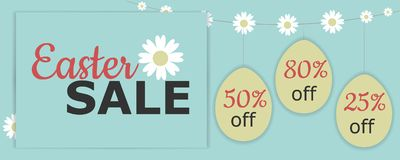 Vector Illustration with easter eggs, camomile flowers, Easter sale phrase, discount, and camomile garland. Perfect for Easter sale banner, gift card, discount vector illustration