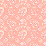 Vector illustration Easter eggs with chicken and different ornaments seamless pattern Stock Image