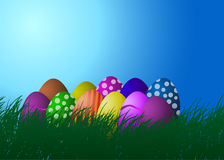 Vector illustration. Easter eggs on the grass Royalty Free Stock Photo