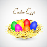 Vector illustration of Easter eggs in nest Royalty Free Stock Photo