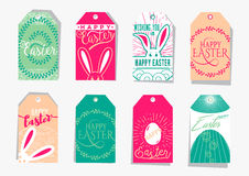Vector illustration of Easter gift tag set with wishing holiday text. For presents and gifts with bunny, eggs, floral element royalty free illustration
