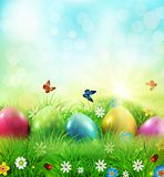 Vector illustration. Easter greeting card with colorful eggs lyi. Ng on the green grass against the blue sky. Design element, greeting card template Royalty Free Stock Photography