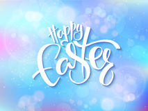 Vector illustration of easter greetings card with lettering - happy easter on a blur shining circles background.  Stock Photography