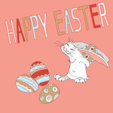 Vector illustration of Easter holiday with the image of the cunning rabbit stealing eggs Stock Image