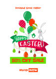 Vector illustration of easter spring sale background with cute bunny Royalty Free Stock Photo