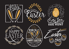 Vector illustration of Easter wishes logo, labels design set Stock Photos