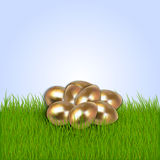 Vector illustration of Eastern eggs collection. Vector illustration of gold Eastern eggs collection greeting card template on grass stock illustration