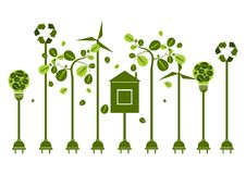 Eco friendly. Ecology green energy concept with Recycle symbol a. Vector illustration. Eco friendly. Ecology green energy concept with Recycle symbol and tree Royalty Free Stock Images