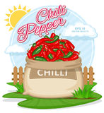 Vector illustration of eco products. Ripe Chili Pepper in burlap sack. Full sacks with fresh vegetables. Bag with harvest on the summer garden. Harvesting and royalty free illustration
