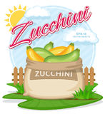 Vector illustration of eco products. Ripe Zucchini in burlap sack. Full sacks with fresh vegetables. Bag with harvest on the summer garden. Harvesting and food royalty free illustration