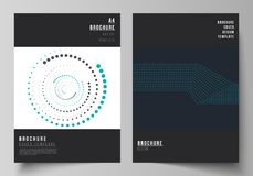 The vector illustration of the editable layout of A4 format cover mockups design templates with geometric background. Made from dots, circles for brochure stock illustration