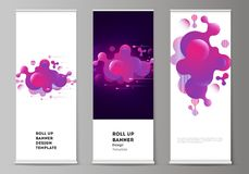 The vector illustration of the editable layout of roll up banner stands, vertical flyers, flags design business. Templates. Black background with fluid gradient royalty free illustration