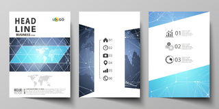 The vector illustration of the editable layout of three A4 format modern covers design templates for brochure, magazine Stock Photos