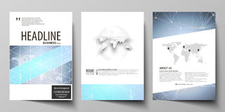 The vector illustration of editable layout of three A4 format modern covers design templates for brochure, magazine Stock Images