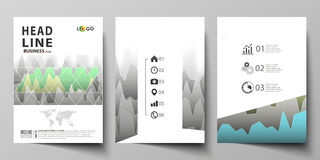 The vector illustration of the editable layout of three A4 format modern covers design templates for brochure, magazine Stock Photography